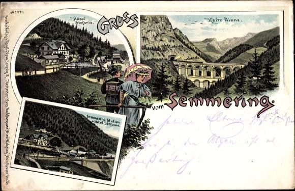 Litho Semmering in Niederösterreich, Kalte Rinne, Hotel Stefanie, Station