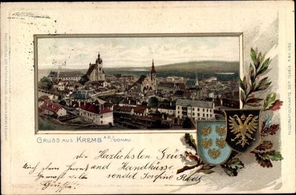 Präge Wappen Passepartout Litho Krems an der Donau in Niederösterreich, Gesamtansicht