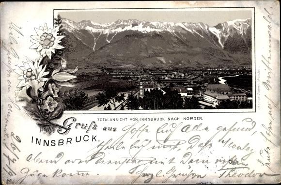 Litho Innsbruck in Tirol, Blick über die Dächer der Stadt