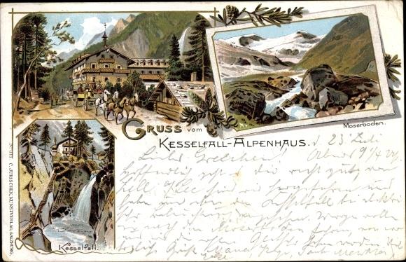 Litho Kaprun in Salzburg, Kesselfall Alpenhaus, Moserboden