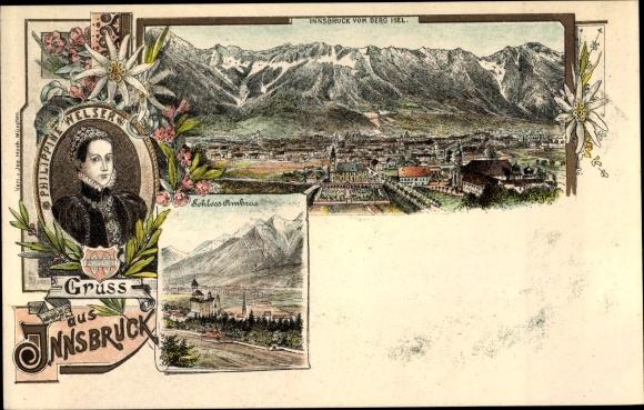 Litho Innsbruck in Tirol, Schloss Ambras, Panorama vom Berg Isel, Philippine Welser