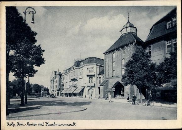 Ak Słupsk Stolp Pommern, Neutor, Kaufmannswall, Geschäftshaus