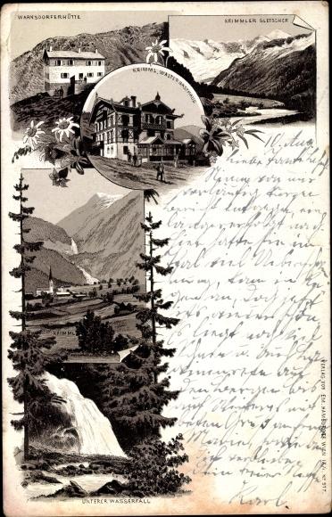 Litho Krimml in Salzburg, Waltls Gasthaus, Gletscher, Warnsdorfer Hütte, Wasserfall