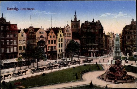Ak Gdańsk Danzig, Blick auf den Holzmarkt