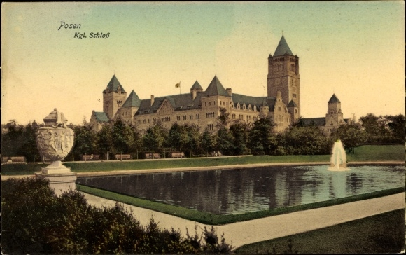 Ak Poznań Posen, Blick zum Schloss, Fontäne