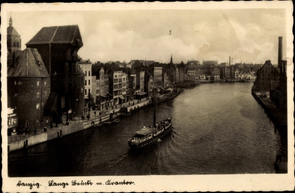Ak Gdańsk Danzig, Lange Brücke mit Krantor