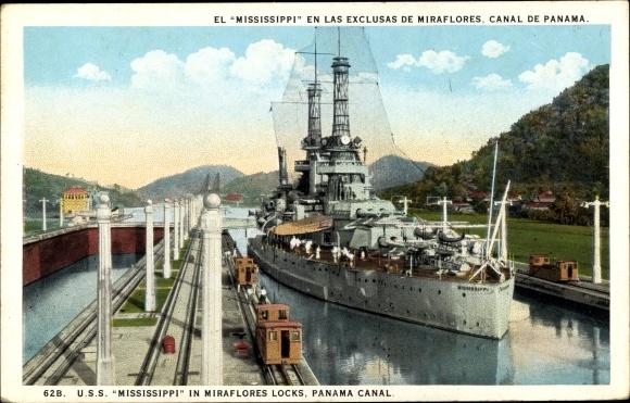 Ak Panama, USS Mississippi in Miraflores Locks, Panama Canal