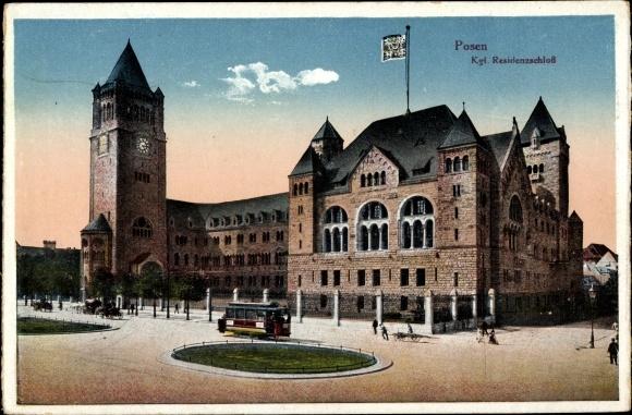 Ak Poznań Posen, Das Residenzschloss, Straßenbahn