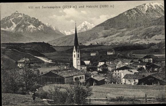 Ak Vill Innsbruck in Tirol, Totalansicht, Serlesspitze, Habicht, Kirchturm