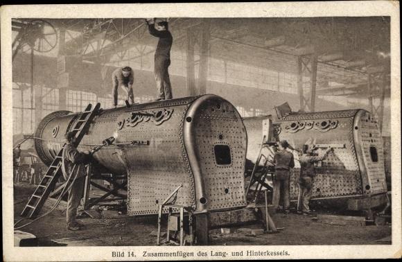 Ak Hanomag, Zusammenfügen des Lang- und Hinterkessels, Lokomotivbau