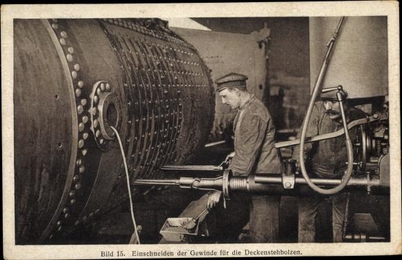Ak Hanomag, Herstellung eines Lokomotivkessels, Einschneiden der Gewinde für die Deckenstehbolzen