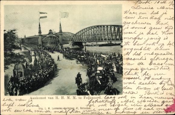 Ak Rotterdam Südholland Niederlande, Aankomst van HHMM te Feijenoord