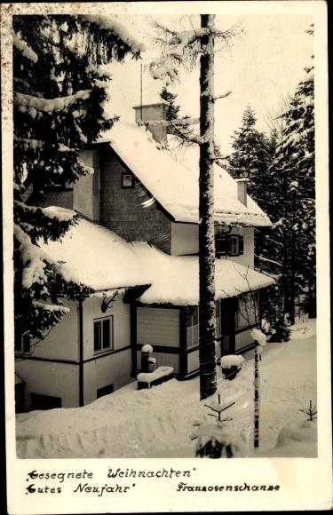 Ak Sankt Gilgen in Salzburg, Frohe Weihnachten, Franzosenschanze, Winter
