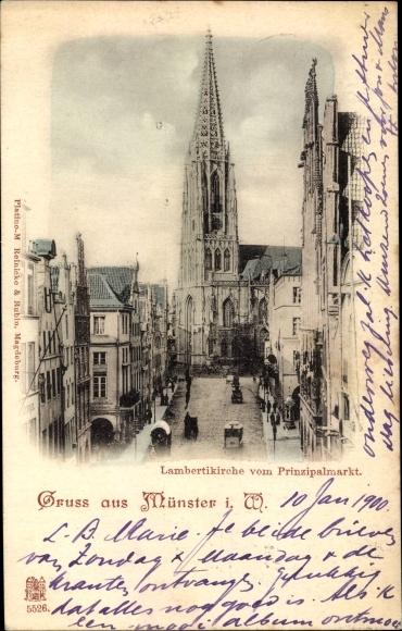Ak Münster in Westfalen, Lambertikirche vom Prinzipalmarkt
