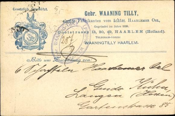 Ak Haarlem Nordholland Niederlande, Gebr. Waaning Tilly, Doelstraße 13, 20,49