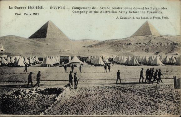 Ak Ägypten, Campement de l'Armee Australienne devant les Pyramides