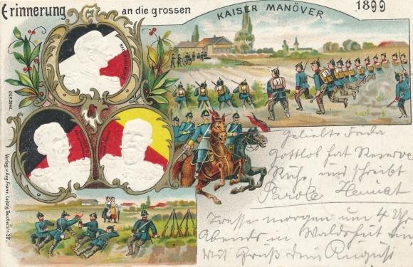 Präge Ak Kaiser Wilhelm II., Kaisermanöver 1899, König Wilhelm II. Württemberg, Friedrich von Baden