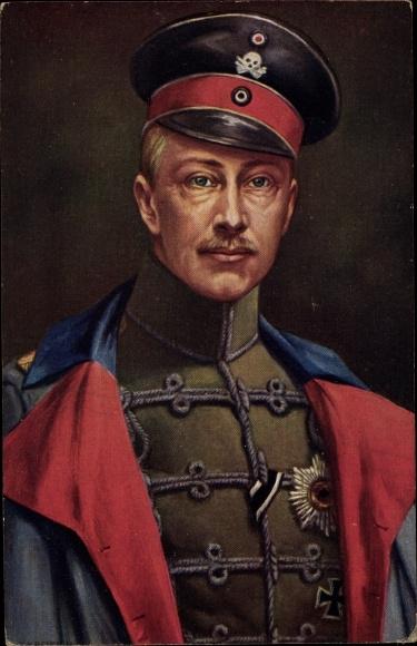 Künstler Ak Kronprinz Wilhelm von Preußen, Totenkopfhusar, Eisernes Kreuz