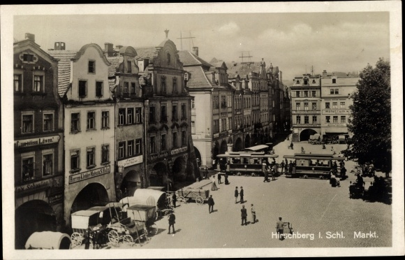 Ak Jelenia Góra Hirschberg Riesengebirge Schlesien, Marktplatz