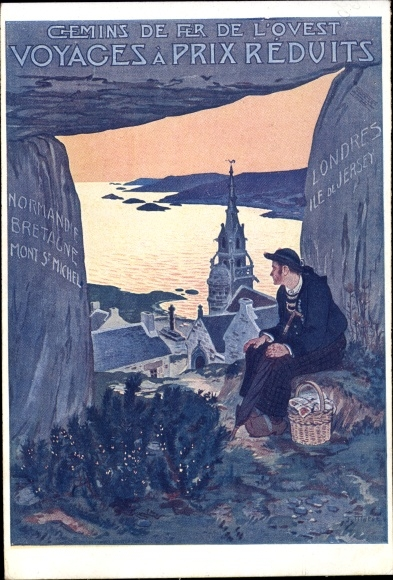 Künstler Ak Chemins de Fer de l'Ouest, Blick auf einen Ort, Kirche, Bucht, Wanderer