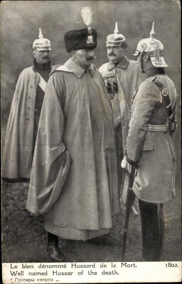 Ak Kaiser Wilhelm II., le bien denomme Hussard de la Mort, Totenkopfhusar