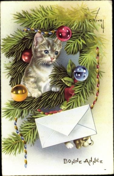 Ak Vive, C., Kätzchen im geschmückten Tannenbaum, Christbaumkugeln, Brief