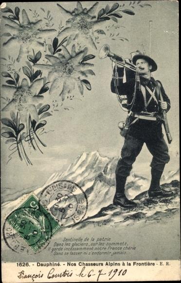 Ak Französischer Gebirgsjäger an der Grenze, Trompete