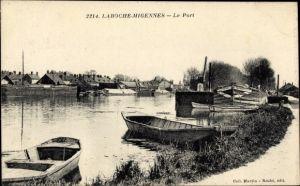Ak Laroche Migennes Yonne, Le Port, Ruderboote, Häuser, Hafen