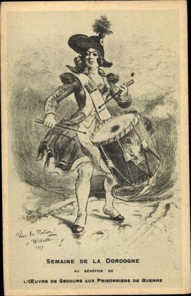 Künstler Ak Semaine de la Dordogne, Frau in Uniform, Trommlerin