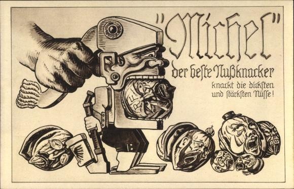 Künstler Ak Michel, der beste Nussknacker, knackt die dicksten Nüsse