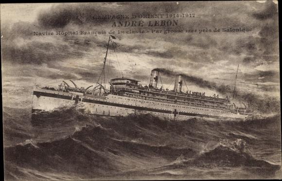 Ak Französisches Kriegsschiff, Andre Lebon, Navire Hopital Francais