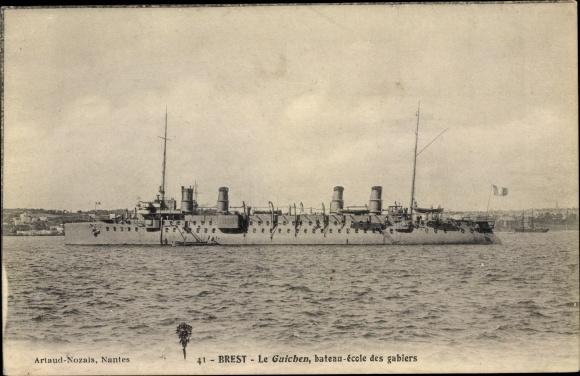 Ak Brest Finistère, Französisches Kriegsschiff, Guichen, Bateau Ecole des Gabiers