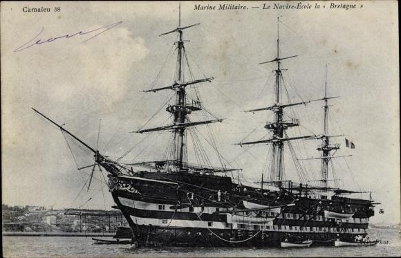Ak Französisches Kriegsschiff, Bretagne, Navire Ecole, Marine Militaire, Segelschiff
