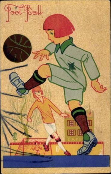 Künstler Ak Fußballer, Torschuss, Foot Ball