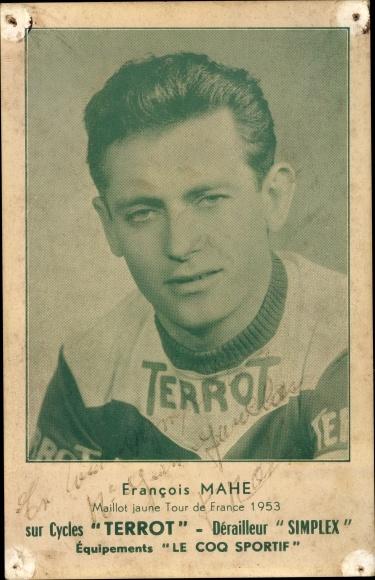 Ak Francois Mathe, Maillot jaune Tour de France 1953, Autogramm, Radrennfahrer