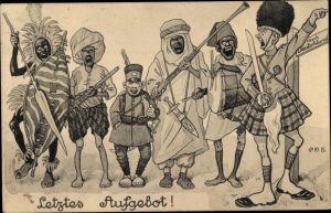 Künstler Ak Engelhard, P. O., Letztes Aufgebot, Britischer Soldat, Kolonialtruppen, I. WK