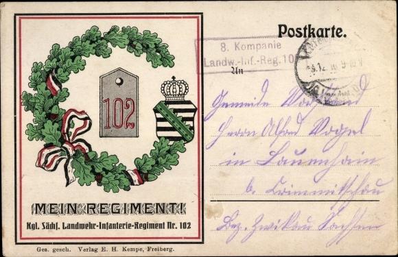 Ak Kgl. Sächsisches Landwehr Infanterie Regiment Nr. 102