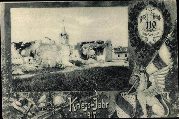 Ak Reserve Infanterie Regiment 110 vor Verdun, Kriegsjahr 1917, Kriegszerstörung I. WK