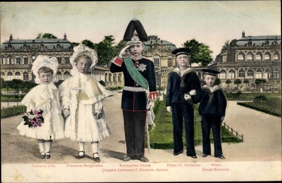 Ak Kronprinz Georg von Sachsen, Prinz Fr. Christian, Ernst Heinrich, Prinzessin Alix, Margarethe