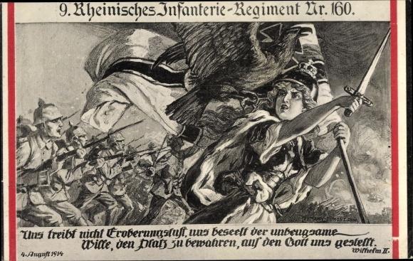 Künstler Ak 9. Rheinisches Infanterie Regiment Nr. 160, Germania führt in die Schlacht