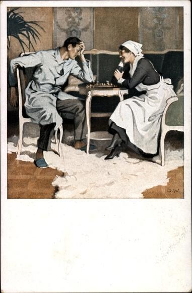 Künstler Ak Wennerberg, Bruno, Kriegspostkarte Nr. 22, Schach, verwundeter Soldat, Krankenschwester