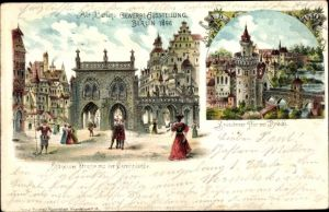 Litho Berlin Treptow, Gewerbeausstellung 1896, Spandauer Straße, Gerichtslaube, Spandauer Tor