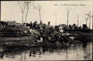 Ak La Peche d'un Etang en Dombes, Fischer