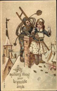 Präge Litho Glückwunsch Neujahr, Schornsteinfeger, Mädchen, Muff