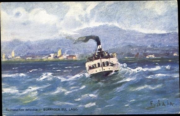 Künstler Ak Gewitter über dem See, Dampfer auf dem Garda See