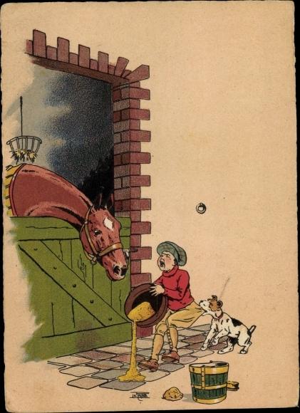 Künstler Ak Pferd im Stall, Fütterung, Hund zieht an Hose eines Jungen, Unfall