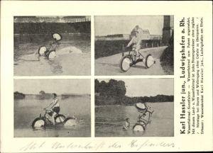 Ak Wasserfahrrad Kunstfahrer Karl Hassler junior, Portrait mit Wasserfahrrad auf dem Rhein