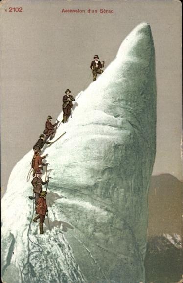 Ak Ascension d'un Serac, Bergsteiger, Gipfel