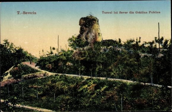 Ak Drobeta Turnu Severin Rumänien, Turnul lui Sever din Gradina Publica