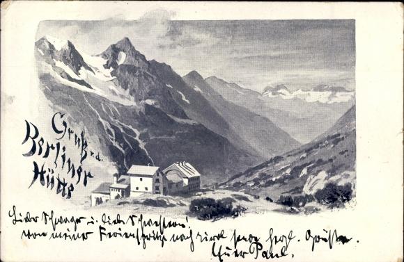 Künstler Ak Mayrhofen in Tirol, Berliner Hütte